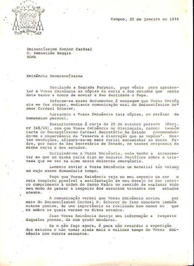 Carta de D. Mayer ao Cardeal Baggio