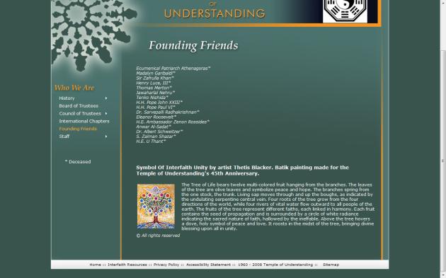 Original em: http://www.templeofunderstanding.org/wwa_founding_friends.html [vale notar o símbolo da síntese do bem e do mal no topo do site]