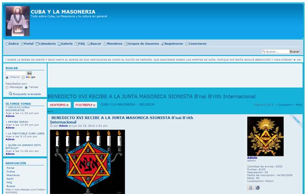 Forum Maçônico com Imagem blasfema de Cristo com vestes maçônicas anuncia a visita do presidente da Loja Maçônica Judaica B'nai B'rith