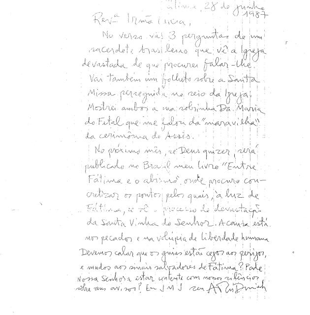 Carta de Araí Daniele à Irmã Lúcia