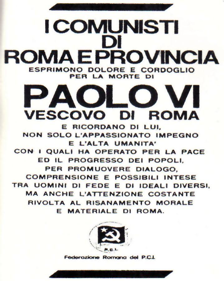 Paulo VI HOMENAGEADO pelos comunistas de Roma em nota oficial.