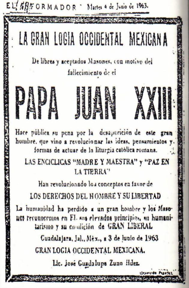 Homenagem maçônica a João XXIII