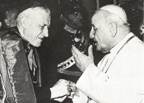 "John XXIII with ""Cardinal"" Richard Cushing of Boston - a man who called the dogma Outside the Church There is no Salvation ""nonsense,"" and one-time B'nai B'rith' (Freemasons) man of the year."