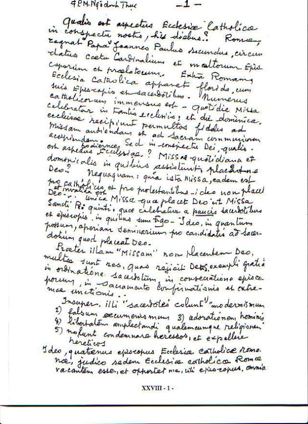 Declaração Sede Vacante de Mons. Thuc