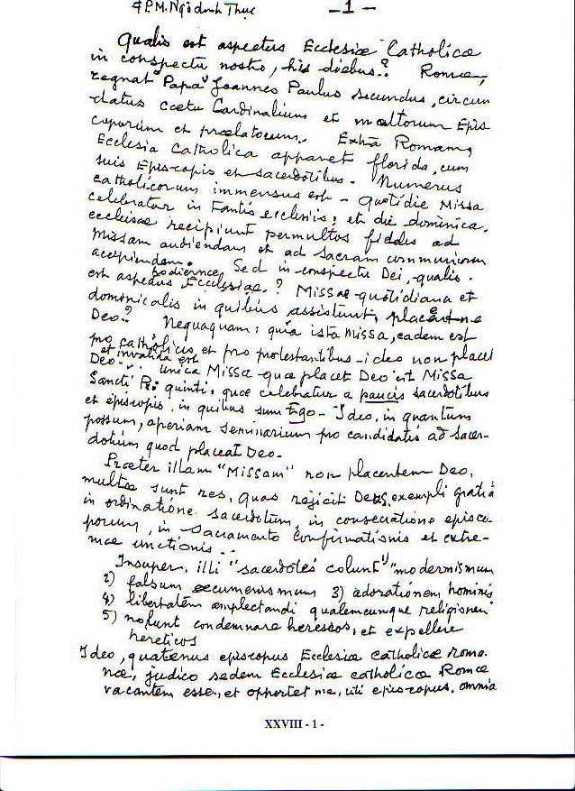 Declaração de Vacância na Sé Apostólica por Mons. Thuc