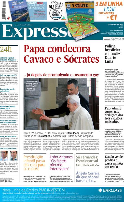 Papa Condecora Cavaco e Sócrates