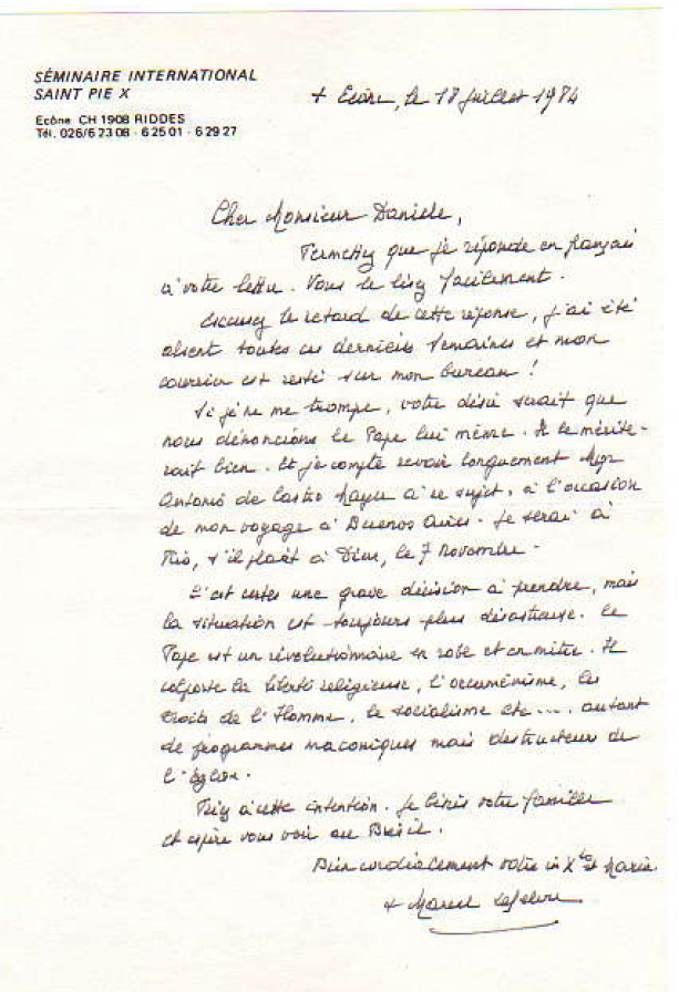 Bilhete de Mons. Lefebvre à Arai Daniele