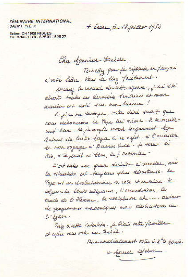 Carta de Mons. Lefebvre à Arai Daniele