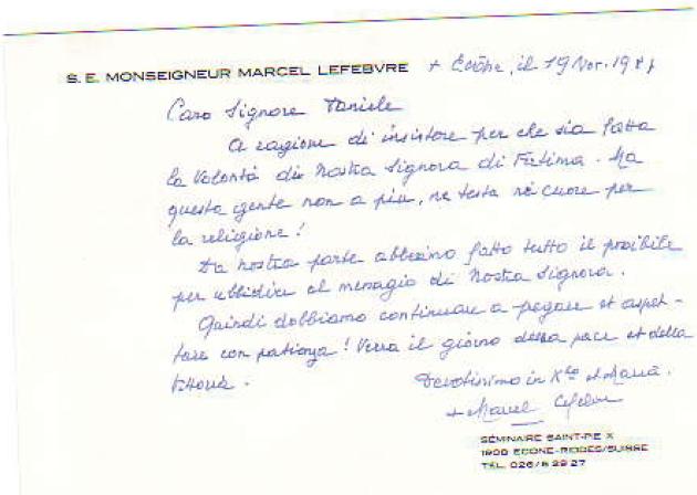 Letter From Abp. Marcel Lefebvre to Arai Daniele