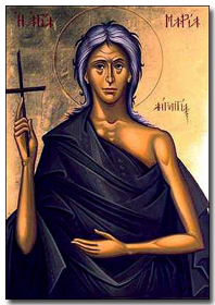 Santa Maria Egipcíaca habitou isolada no deserto da Jordânia durante 47 anos sem sacramentos até encontrar o monge Zózimo, a quem narrou a sua vida e penitência e de quem recebeu finalmente a Eucaristia. Morreu em abril (2 ou 9) de 422.