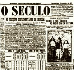 Milagre do Sol noticiado em Jornal Maçônico, O SECULO
