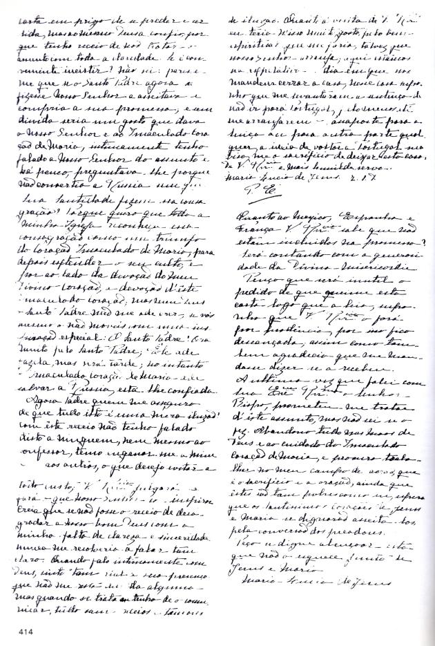 Carta Irmã Lúcia