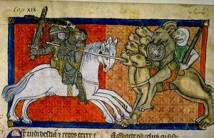 Combates contra la bestia, 1220-70. Biblioteca de Toulouse